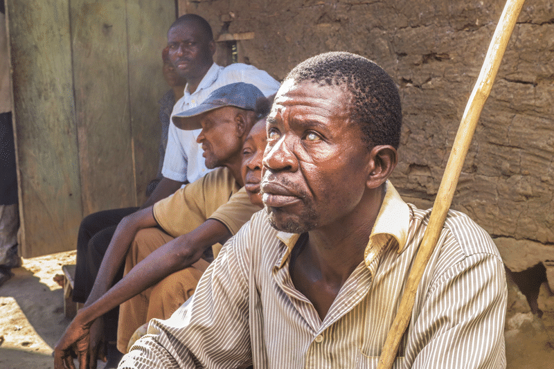 This image shows a patient who suffers from Onchocerciasis (river blindness, blinding disease). The Organization for the Prevention of Blindness (OPC) fights to eliminate blinding diseases.
